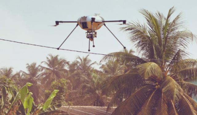 Drone flying in the sky with a palm tree in the background