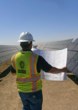 Bureau Veritas employee looking at plans out in a solar panel field