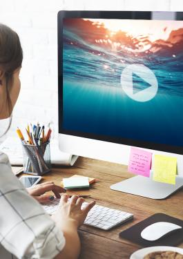 Woman sitting at desk looking at her monitor