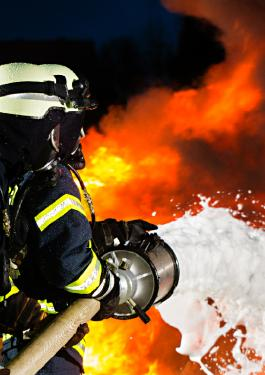 Firefighters using firefighting foam with PFAS