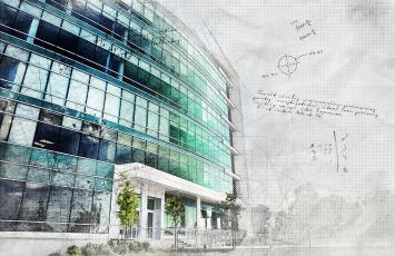 Drawing of an office building with notes on the side